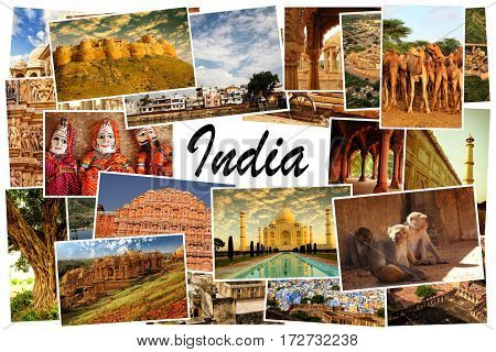 Collage of images from famous location in Rajasthan, north India with copy space in the middle and the word India on white background
