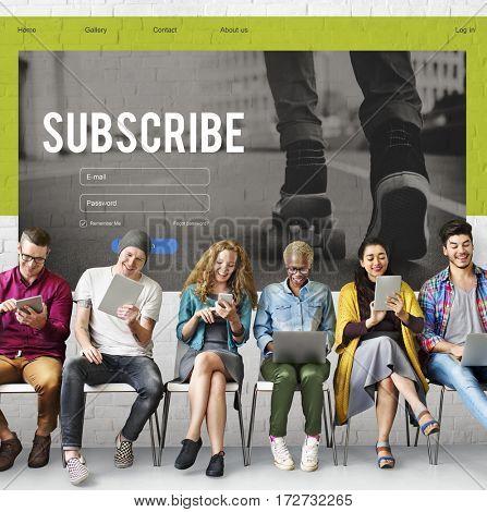 Subscribe Member Register Social Advertising Concept
