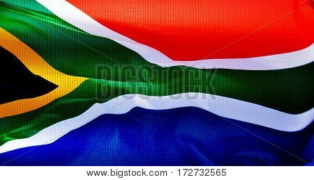 Close up of the South African flag in the wind