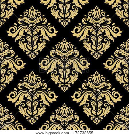 Damask vector classic golden pattern. Seamless abstract background with repeating elements. Orient background