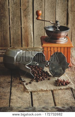 Coffee Grinder, Coffeepot And Roasted Coffee Beans