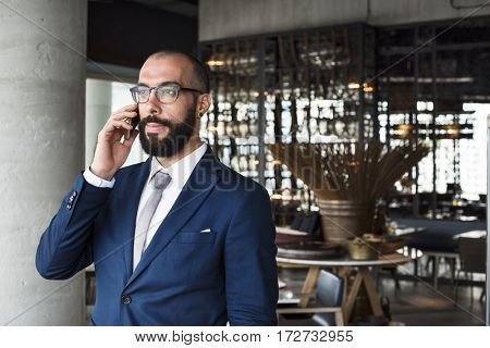 Business Person Talking Phone Concept