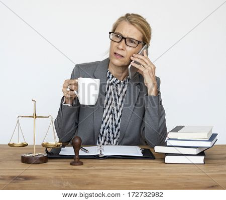 Lawyer Talking with Someone Holding Coffee