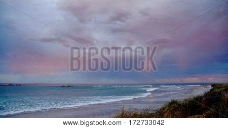 Seascape with rainy sky over the Atlantic Ocean