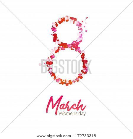 8 march holiday card design. Rose petals vector international greetings or congratulations. 8 march - woman day illustration.