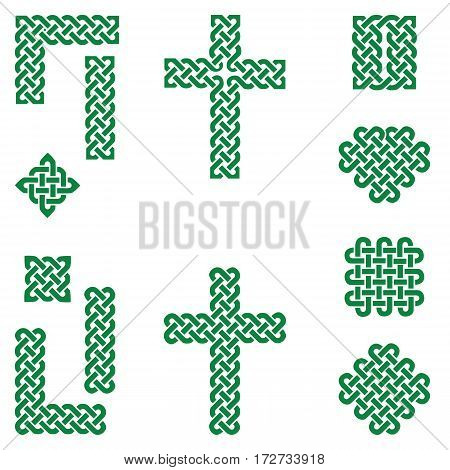 Celtic style endless knot symbols including border, line, heart, cross, curvy squares in  irish flag green on white background inspired by Irish St Patrick's Day, and Irish and Scottish Culture
