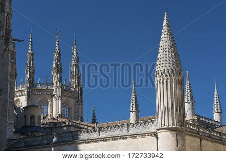 Burgos (Castilla y Leon Spain): exterior of the medieval cathedral in gothic style