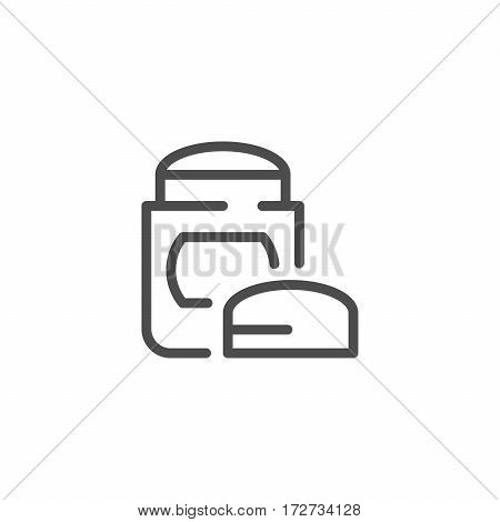 Dry deodorant line icon isolated on white. Vector illustration