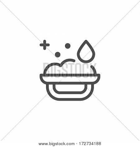 Bath sponge line icon isolated on white. Vector illustration