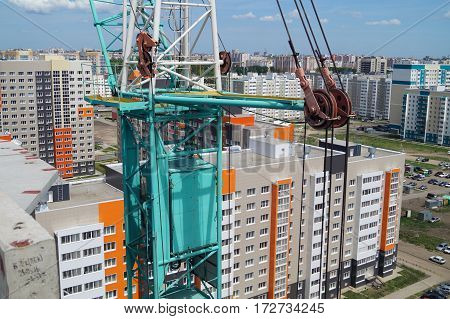a fragment of a tower crane from a height of bird flight