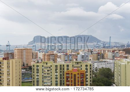 Views of Algeciras the port and the rock of gibraltar