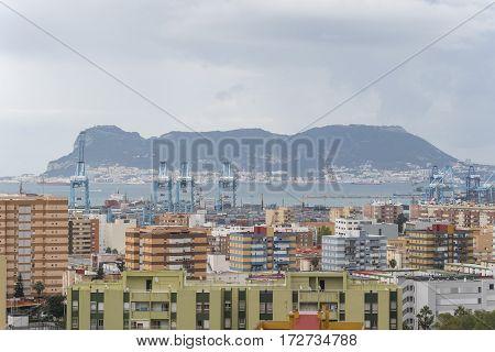 Views of Algeciras the port and the rock of gibraltar Cadiz Spain