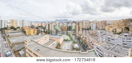 Panoramic view of Algeciras the port and the rock of gibraltar Cadiz Spain