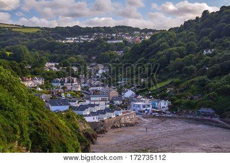 Hele Bay Village. North coast in the county of Devon. UK