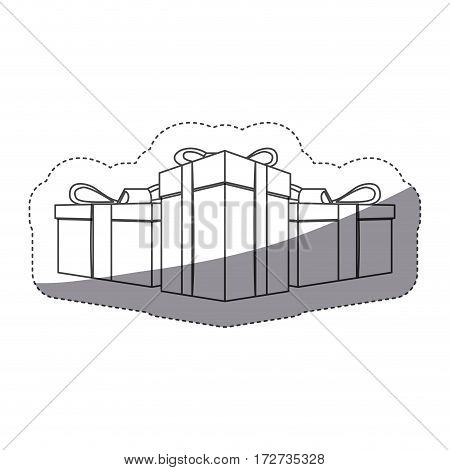 grayscale contour sticker with set of gift boxes vector illustration