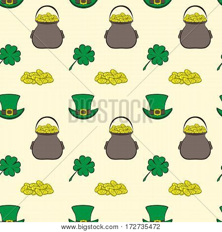 Vector seamless pattern St. Patrick s Day. Quatrefoil clover, leprechaun hat, pot of gold and a handful of coins. Holiday symbols on a light background. Usable for design of packing, scrapbook, pattern fills, web, wallpaper, textile, card