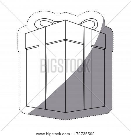 grayscale contour sticker with gift box vector illustration