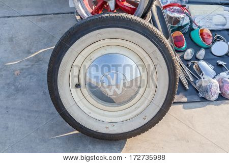 Bangkok Thailand -February 11 2017: Wheel and logo selling on street walk in second hand market.