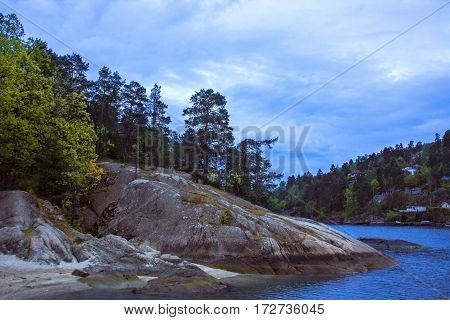 Beautiful Norwegian landscape with rocky coast, pine trees and blue sky