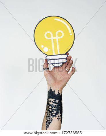 Person Holding Lightbulb Studio Concept