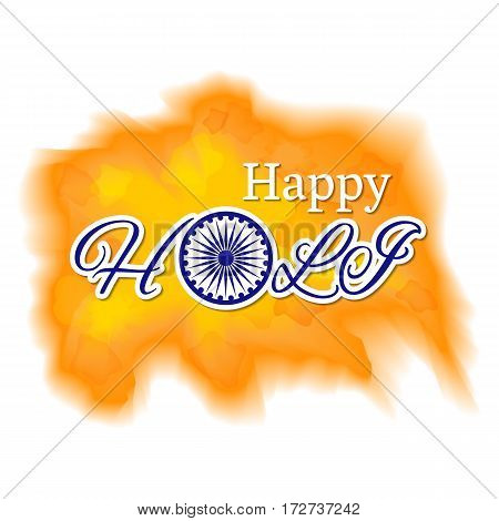 Abstract colorful vector background. Holi festival of spring and bright colors in India. Sample text with traditional symbolic wheel. Usable for design greeting card, banner, invitation, poster.