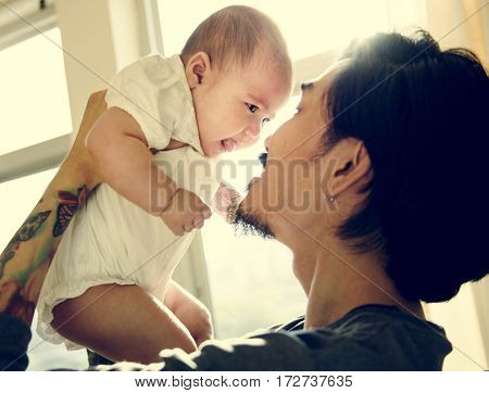 Daddy and Baby Playing Togetherness Love Emotional