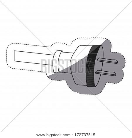grayscale contour sticker with plug cord vector illustration