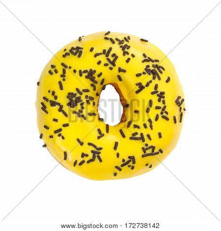 Donut With Yellow Glaze And Chocolate Sprinkles