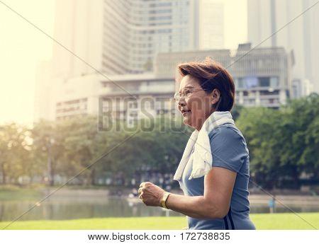 Senior Woman Run Exercise Strength