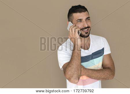 Caucasian Man Talking Phone Smile