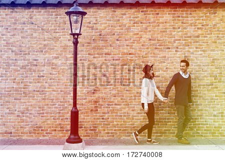 Gradient Color Style with Couple Dating Happiness Traveling Together