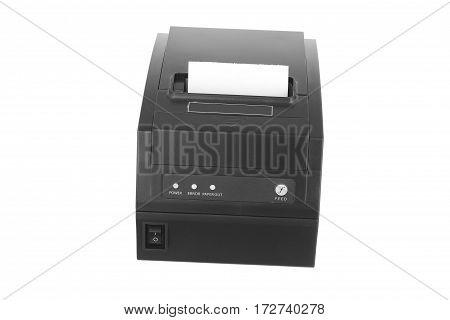 A black portable printer on white background