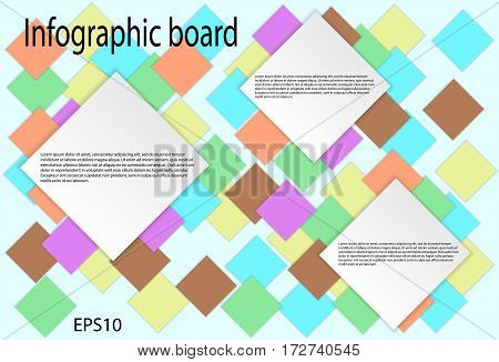 Abstract infographics from colored squares. Used for workflow layout diagram banner web design. Vector eps 10