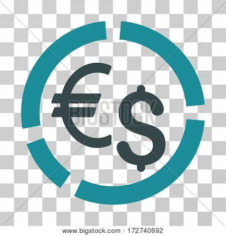 Currency Diagram icon. Vector illustration style is flat iconic bicolor symbol, soft blue colors, transparent background. Designed for web and software interfaces.