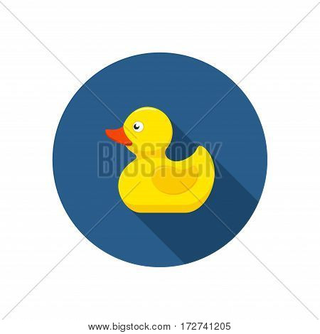 Rubber duck icon bath toy in flat style isolated on white background. Vector illustration