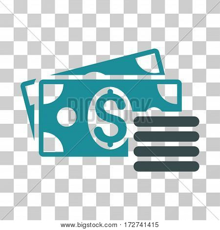 Dollar Cash icon. Vector illustration style is flat iconic bicolor symbol, soft blue colors, transparent background. Designed for web and software interfaces.