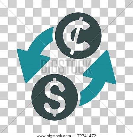 Dollar Cent Exchange icon. Vector illustration style is flat iconic bicolor symbol, soft blue colors, transparent background. Designed for web and software interfaces.