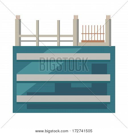 Illustration of unfinished building. First floors with glasses. Rows and columns of metal scaffolding over rectangular windows on building outdoors. Architecture in cartoon style. Vector illustration