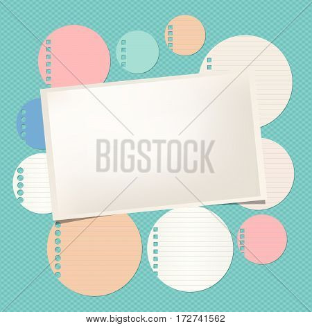 Colorful ruled round note, notebook, copybook sheet, rectangle paper with frame on squared pattern.