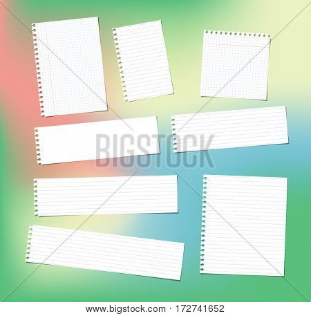 White note, notebook, copybook paper strips and sheets stuck on colorful gradiant background.