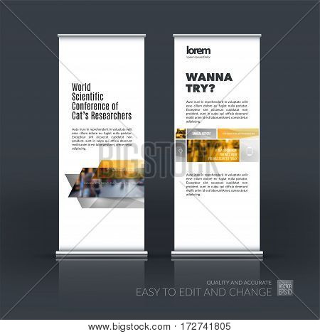 Abstract business vector set of modern roll Up Banner stand design template with many yellow rectangles, stripes for exhibition, show, exposition, expo, presentation, parade, events.