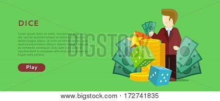 Casino gambling horizontal website template. Chips stacks, croupier, craps dice and money on green background. Banner for online casino. Vector illustration. Casino background