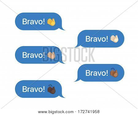 Set of SMS bubbles messages with dialog words and emoji. Vector illustration. Bravo word and applause gesture
