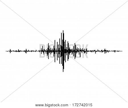 Black music sound waves isolated on white background. Audio equalizer technology, pulse musical. Vector illustration