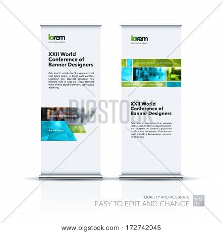 Abstract business vector set of modern roll Up Banner stand design template with many green rectangles, stripes for exhibition, show, exposition, expo, presentation, parade, events.