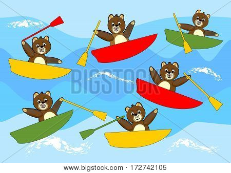 Teddy bears rowing cheerful multicolored boats and competing on sea waves. Beautiful children illustration.