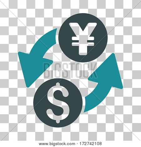 Dollar Yen Exchange icon. Vector illustration style is flat iconic bicolor symbol, soft blue colors, transparent background. Designed for web and software interfaces.