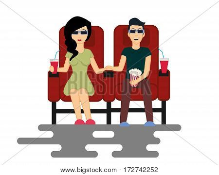 Young couple man and woman are watching movie in the Cinema. Vector Illustration isolated on white background