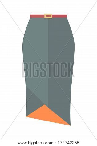 Grey pencil skirt with belt icon. Women everyday clothing in business style flat vector illustration isolated on white background. For clothing store ad, fashion concept, app button, web design