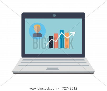 Laptop monitor isolated on white. Business graph and chart on screen. Workspace training design flat. Educational business technology and management. Part of series of successful leadership. Vector